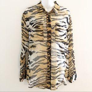 Equipment Femme Animal Tiger Print Silk Blouse